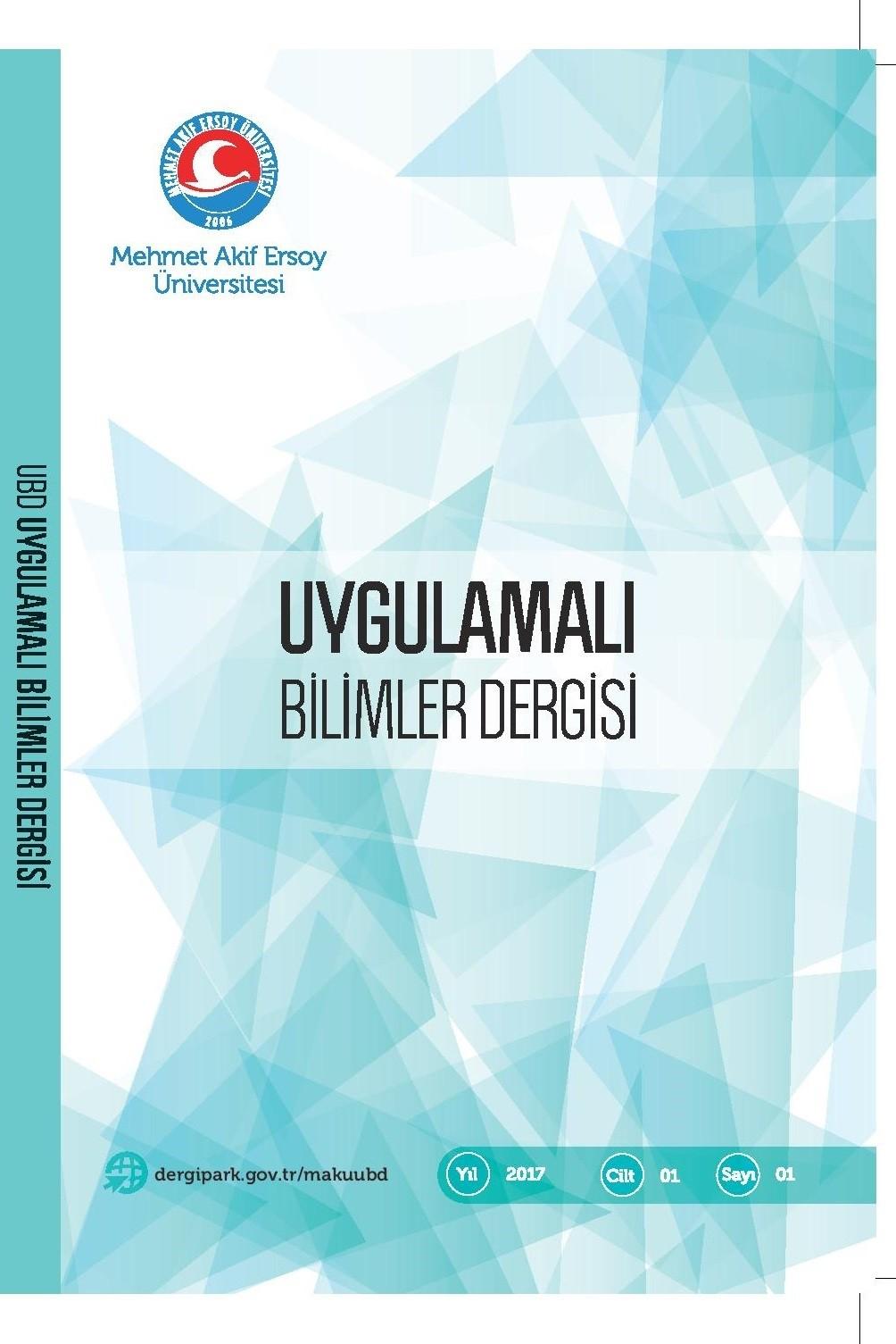 Mehmet Akif Ersoy Üniversitesi Uygulamalı Bilimler Dergisi